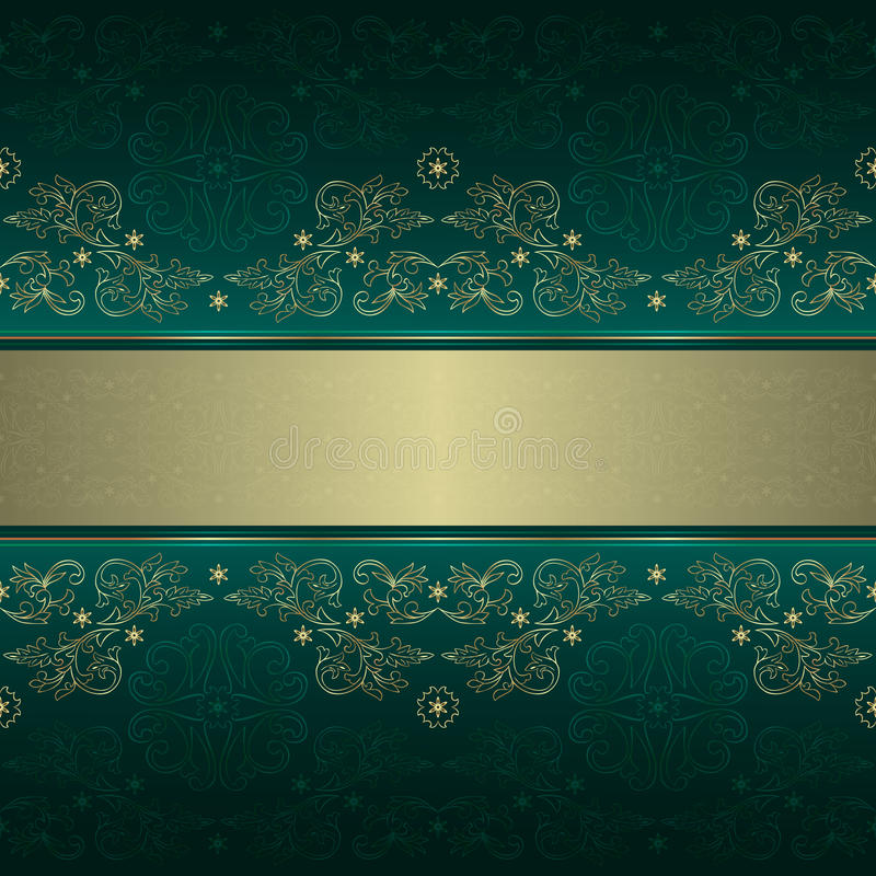 Free Green Gold Floral Vintage Seamless Pattern Royalty Free Stock Photo - 29121335