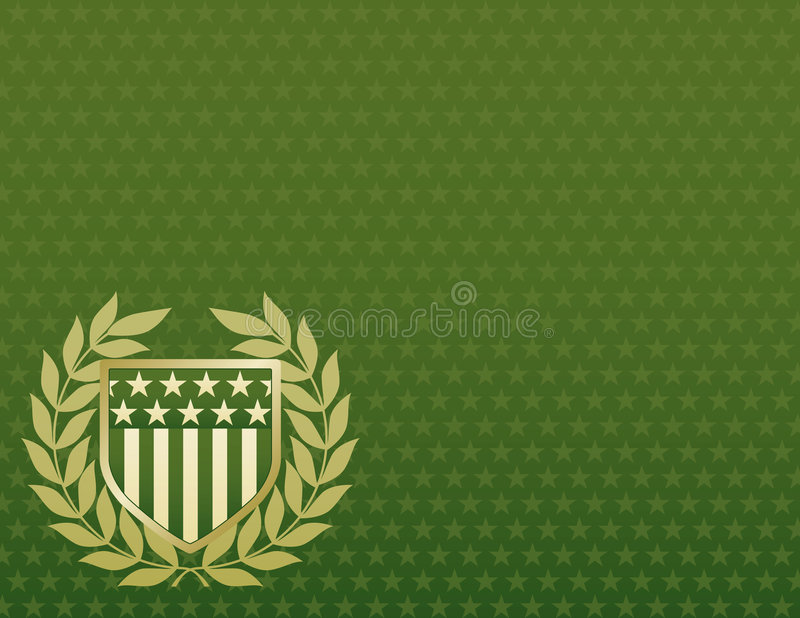 Download Green And Gold Shield On A Star Background Stock Vector - Illustration: 5412829