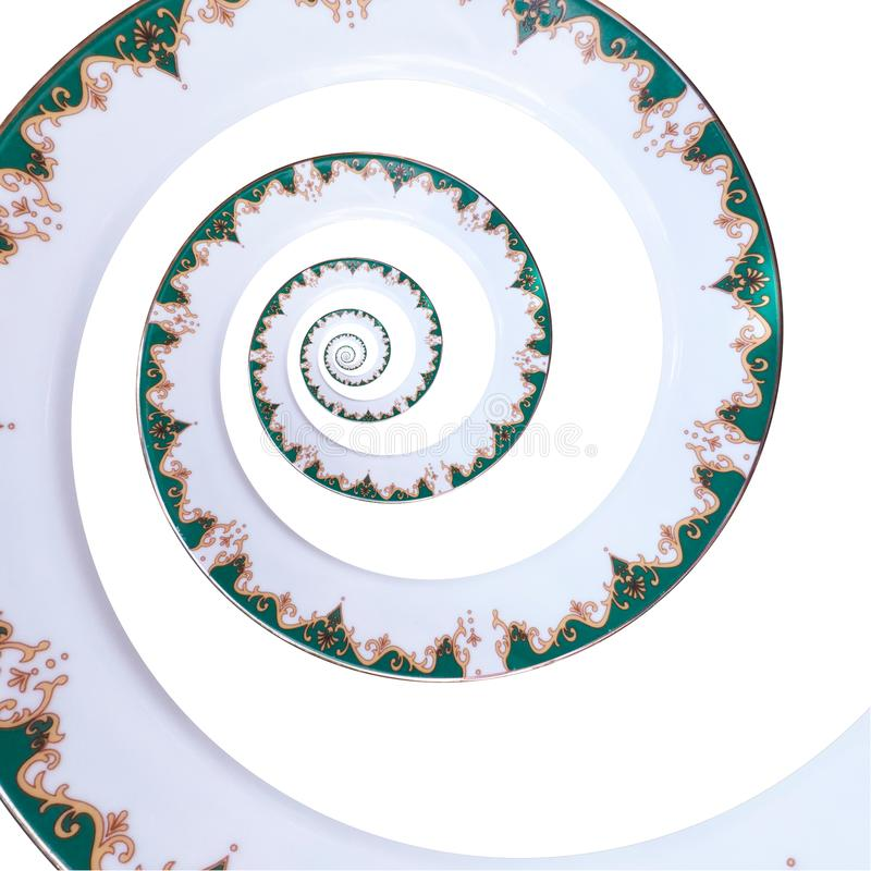 Green gold white color ornament dish spiral effect abstract fractal pattern background. White plate spiral abstract fractal stock photos
