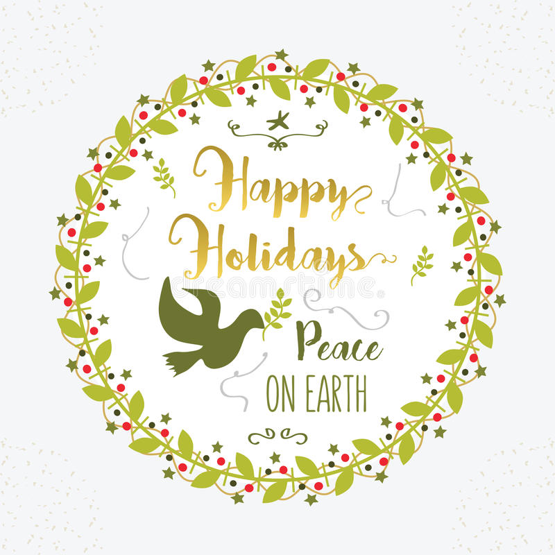 Green and golden Happy Holidays and Peace on Earth floral circle emblem stock illustration