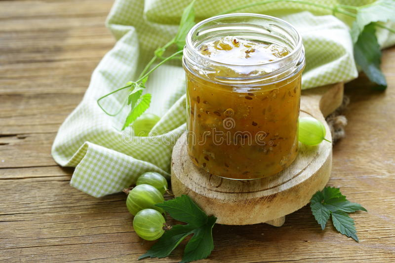 Green gooseberry jam stock photo