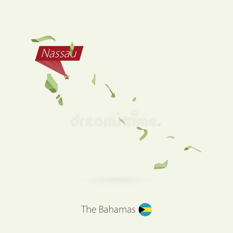Green gradient low poly map of The Bahamas with capital Nassau.  vector illustration