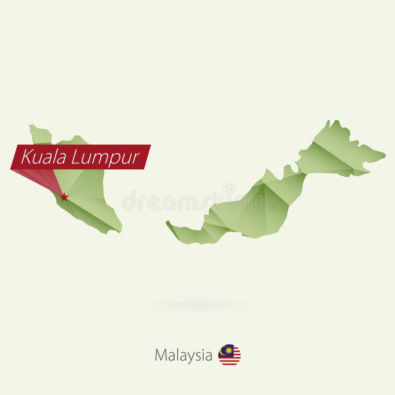 Green gradient low poly map of Malaysia with capital Kuala Lumpur vector illustration