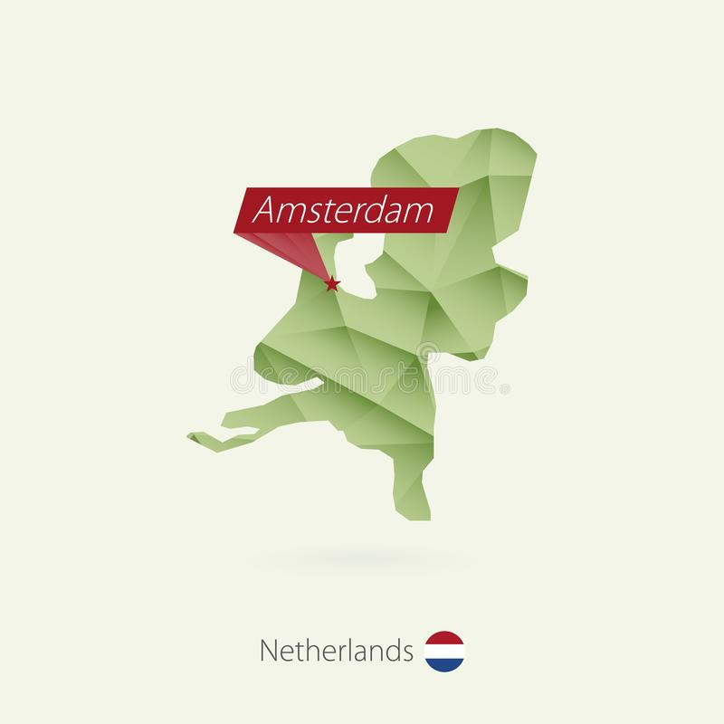 Green gradient low poly map of Netherlands with capital Amsterdam.  royalty free illustration