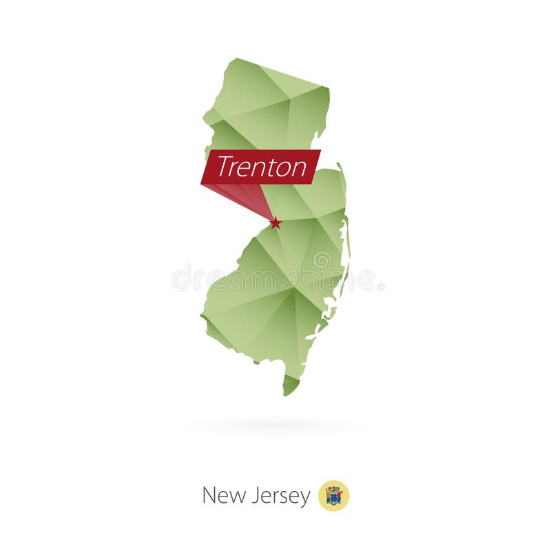 Green gradient low poly map of New Jersey with capital Trenton.  stock illustration