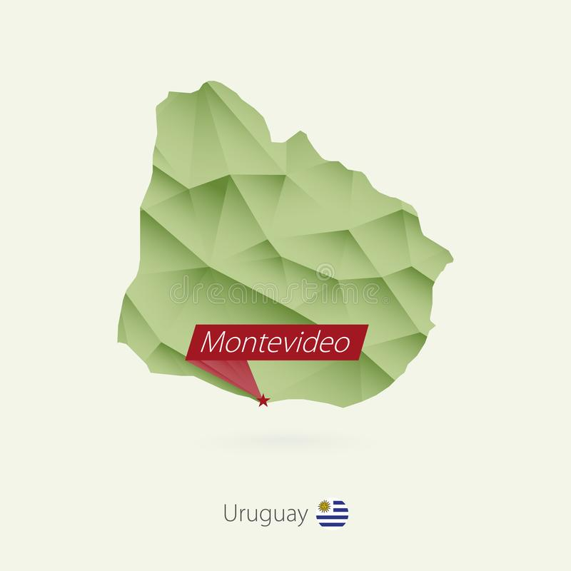 Green gradient low poly map of Uruguay with capital Montevideo vector illustration
