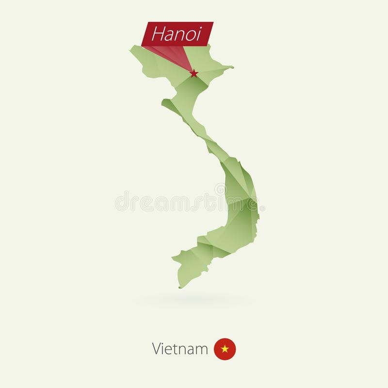 Green gradient low poly map of Vietnam with capital Hanoi vector illustration