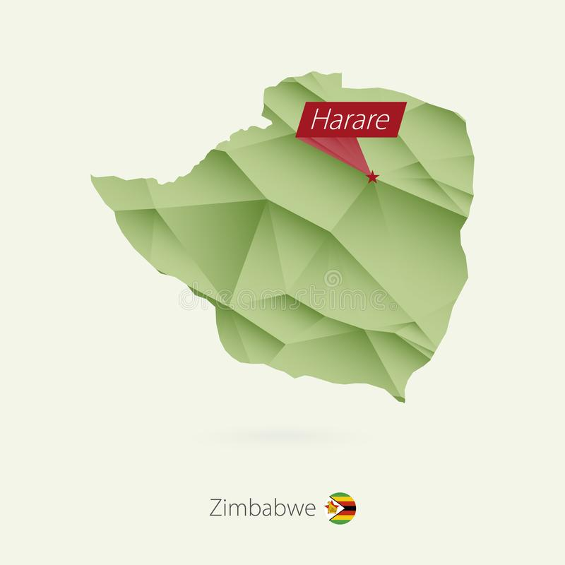 Green gradient low poly map of Zimbabwe with capital Harare stock illustration