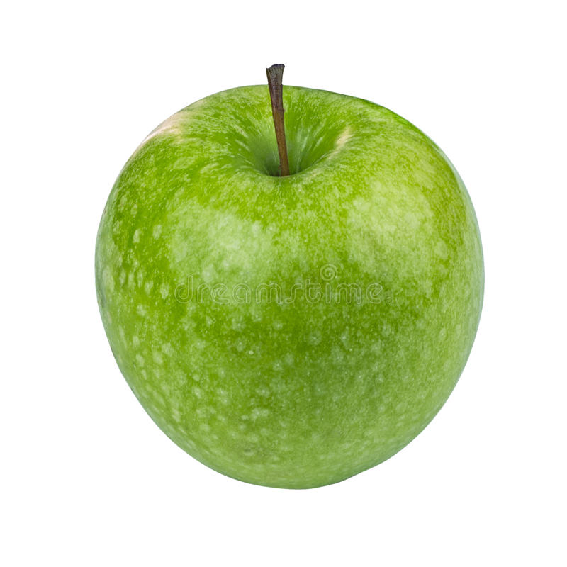 Green Granny Smith Apple on white background stock images