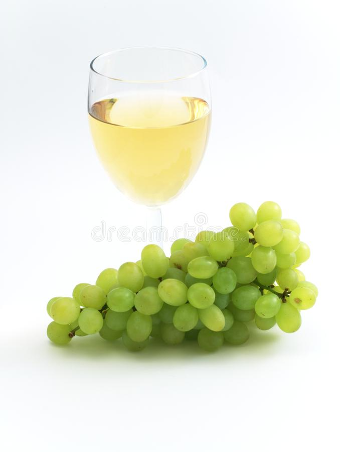 Green grape and wine royalty free stock image