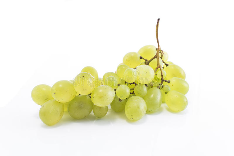 Green grapes isolated on white royalty free stock photo