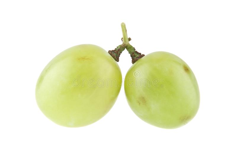 Green grapes isolated on white stock image