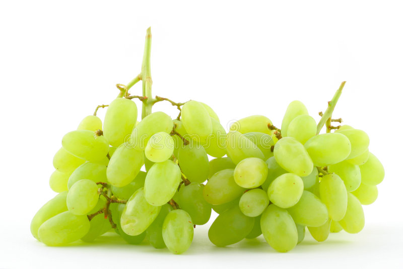 Green grapes on white royalty free stock image