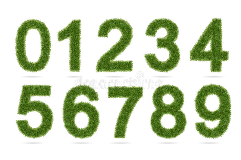 Green grass alphabet number isolated on white with clipping path. Green grass alphabet number on white with clipping path royalty free stock images