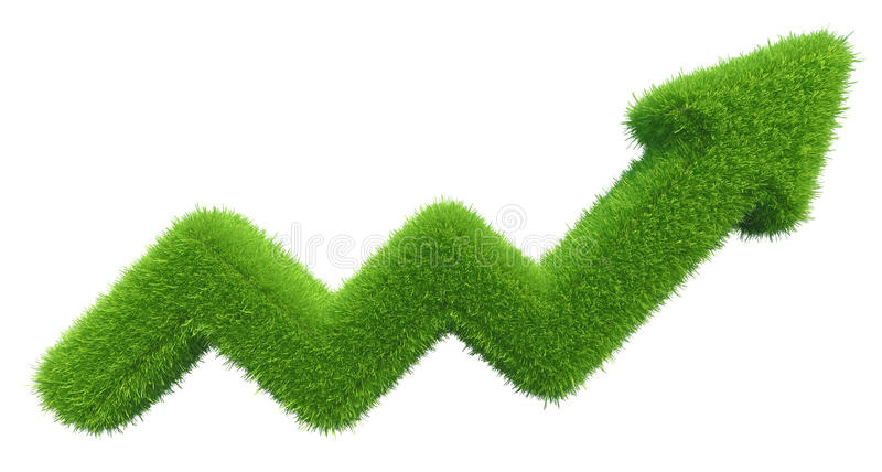 Green grass arrow chart isolated on white background.  royalty free stock photo