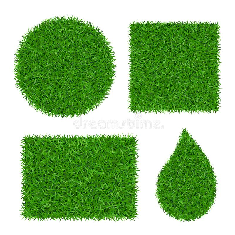 Green grass background 3D set. Lawn greenery nature. Abstract field texture circle, square, rectangle, drop. Ground. Landscape grassland pattern. Grassy design stock illustration