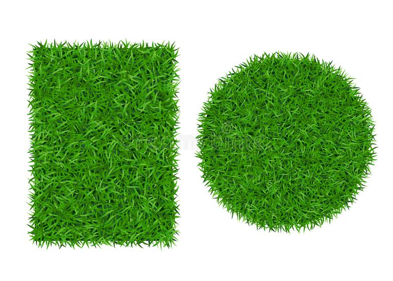 Green grass background 3D set. Lawn greenery nature ball. Abstract soccer field texture circle, rectangle. Ground. Landscape grassland pattern. Grassy design royalty free illustration