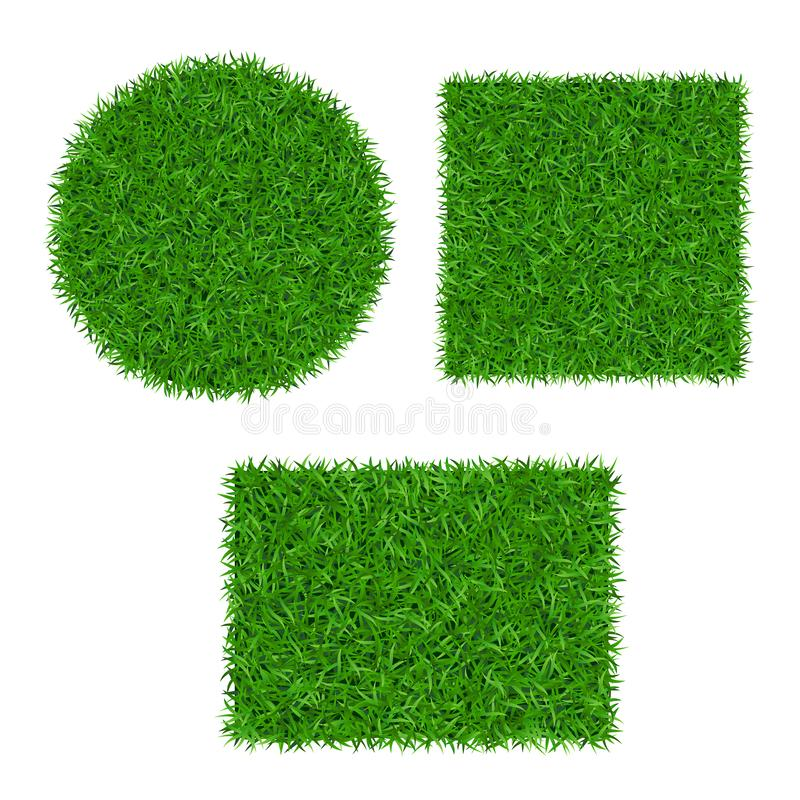 Green grass background 3D set. Lawn greenery nature ball. Abstract soccer field texture circle, square, rectangle. Ground landscape pattern. Grassy design royalty free illustration