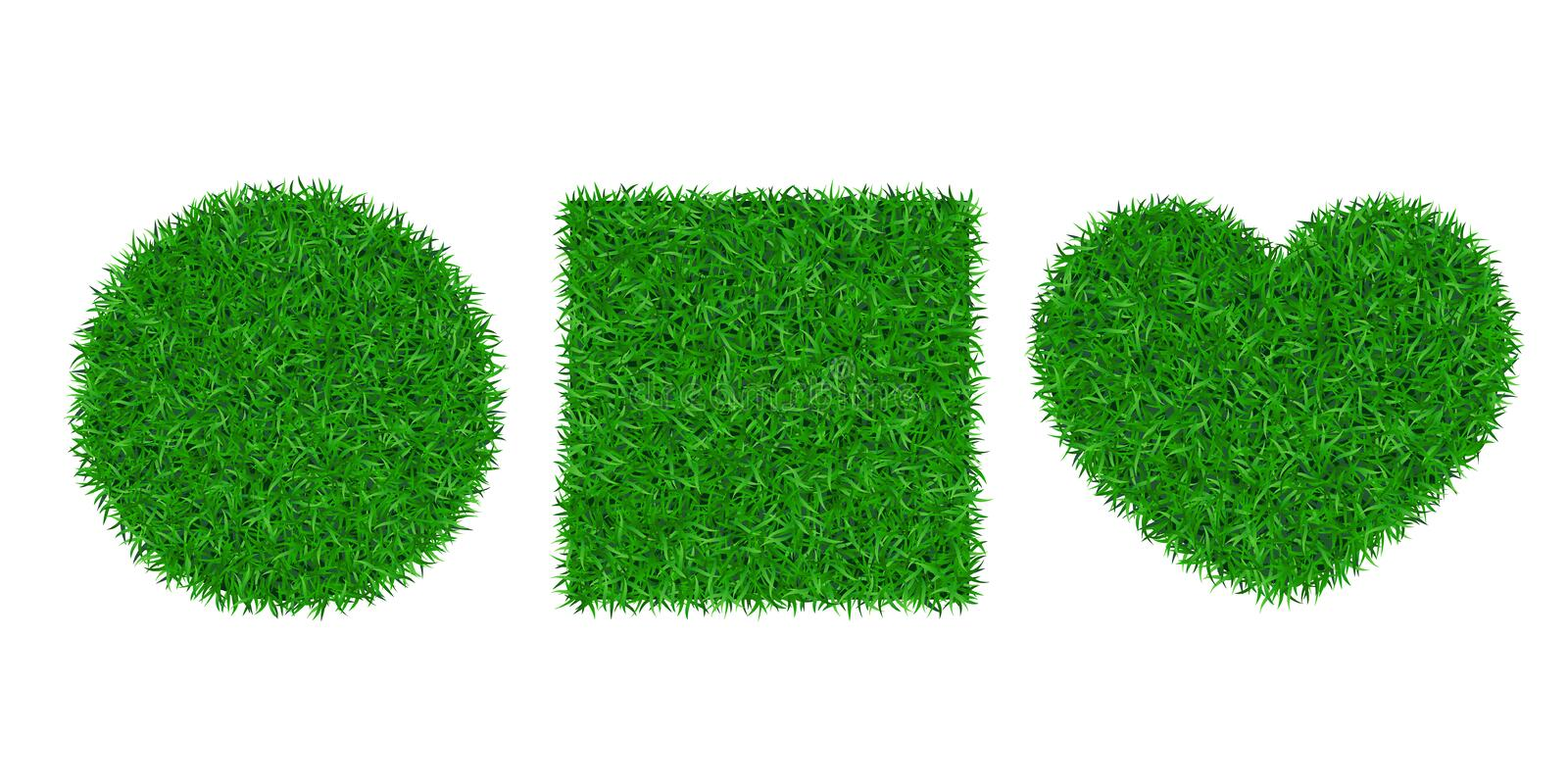 Green grass background 3D set. Lawn greenery nature circle ball, heart. Abstract soccer field texture square. Ground. Landscape grassland pattern. Grassy design stock illustration