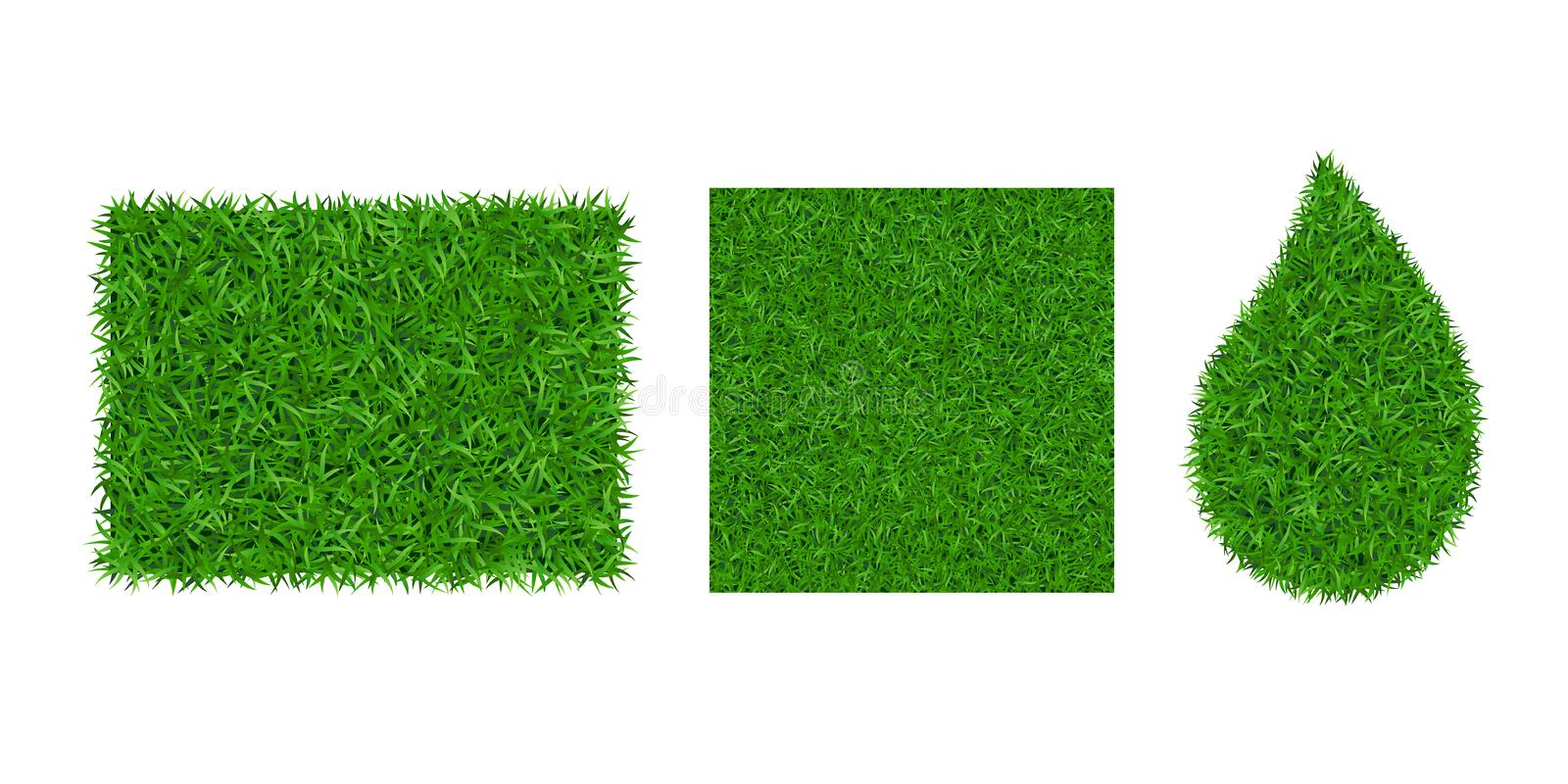 Green grass background 3D set. Lawn greenery nature drop, frame, seamless pattern isolated on white. Field texture. Square, rectangle, droplet. Landscape stock illustration