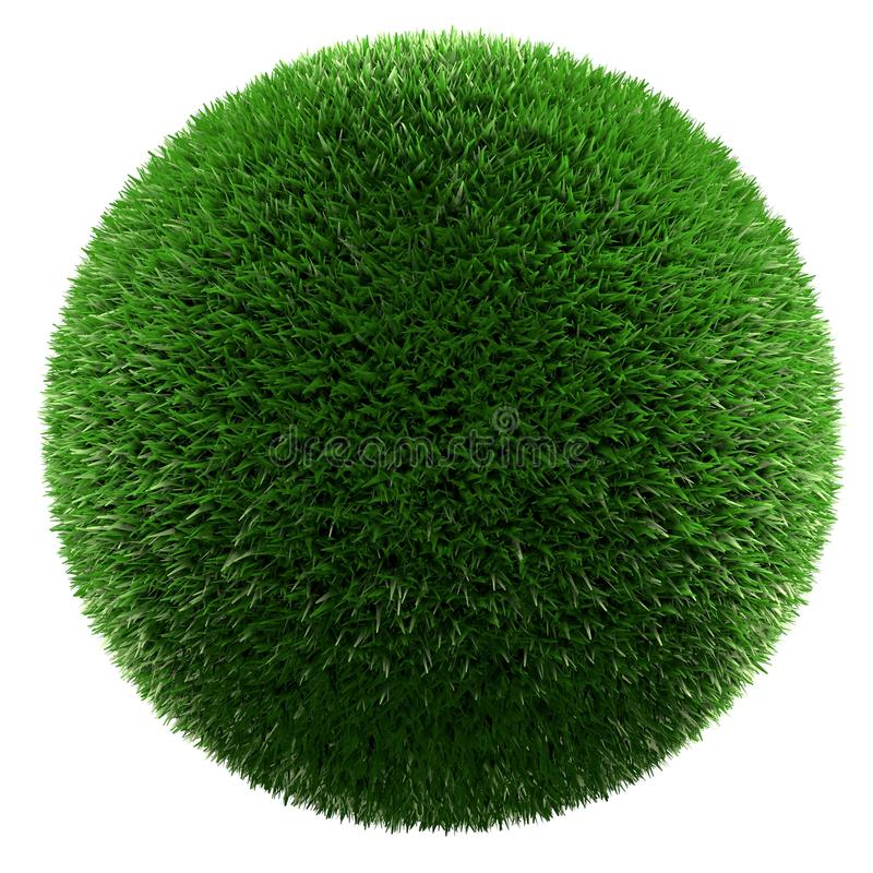Planet of green grass. Green grass ball isolated 3d render stock illustration