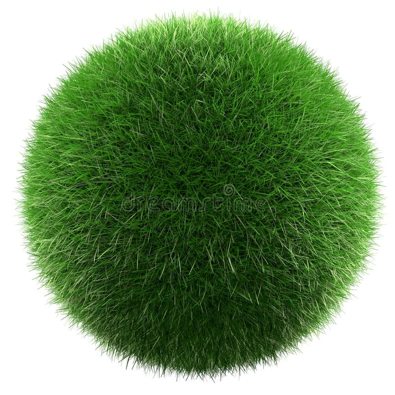 Planet of green grass. Green grass ball isolated 3d render royalty free illustration