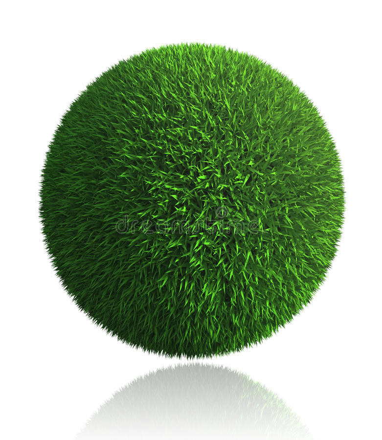 Download Green Grass Ball On White Background Stock Illustration - Image: 26838672