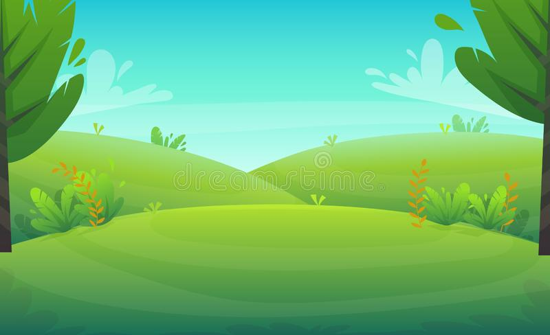Green grass barbeque grill at park or forest trees and bushes flowers scenery background , nature lawn ecology peace vector illust. Ration of forest nature happy royalty free illustration