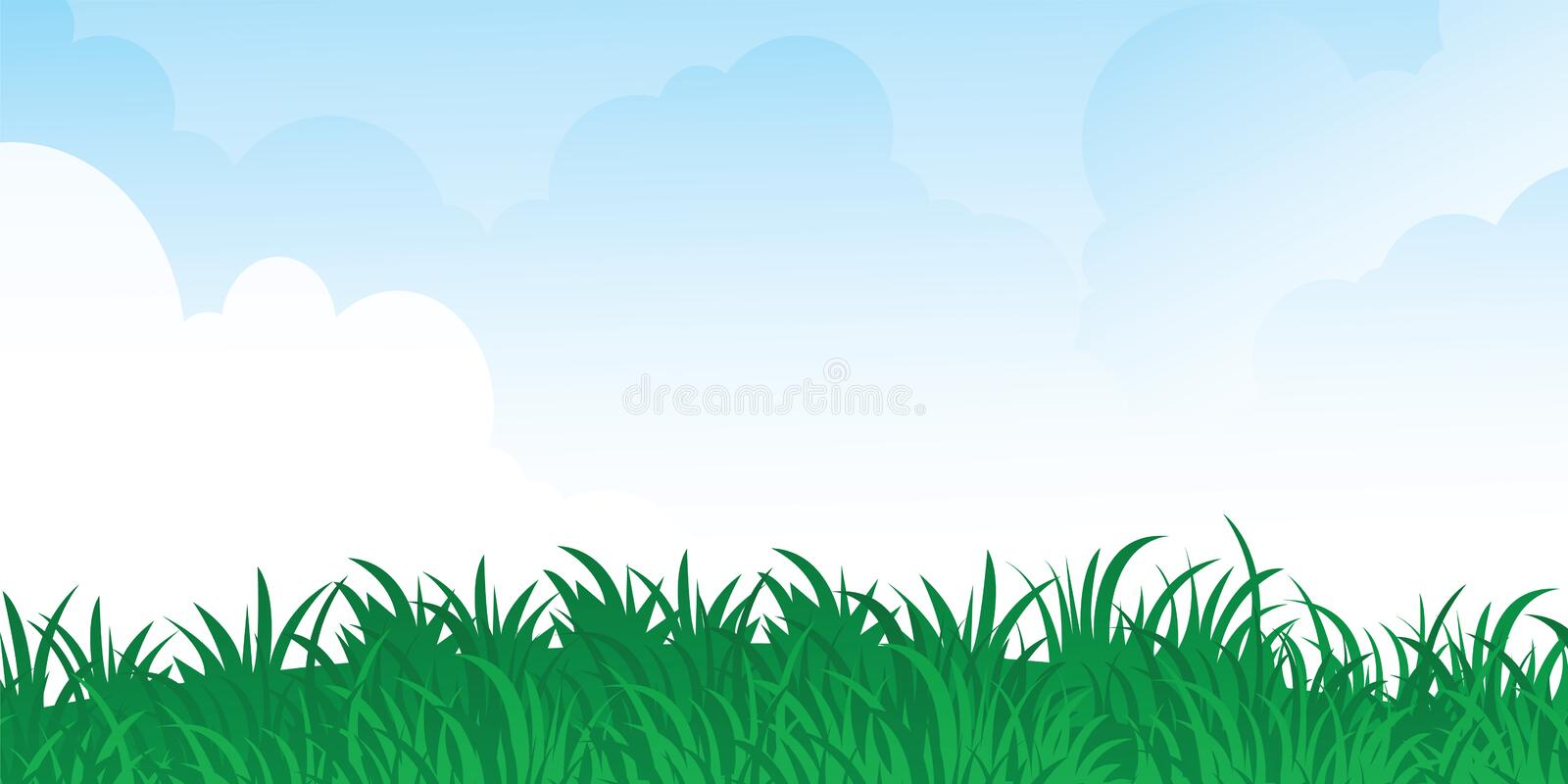 Green grass and blue sky stock illustration