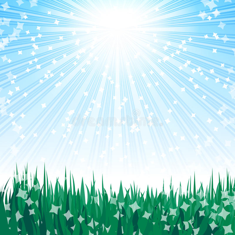 Green grass and blue sky. royalty free illustration
