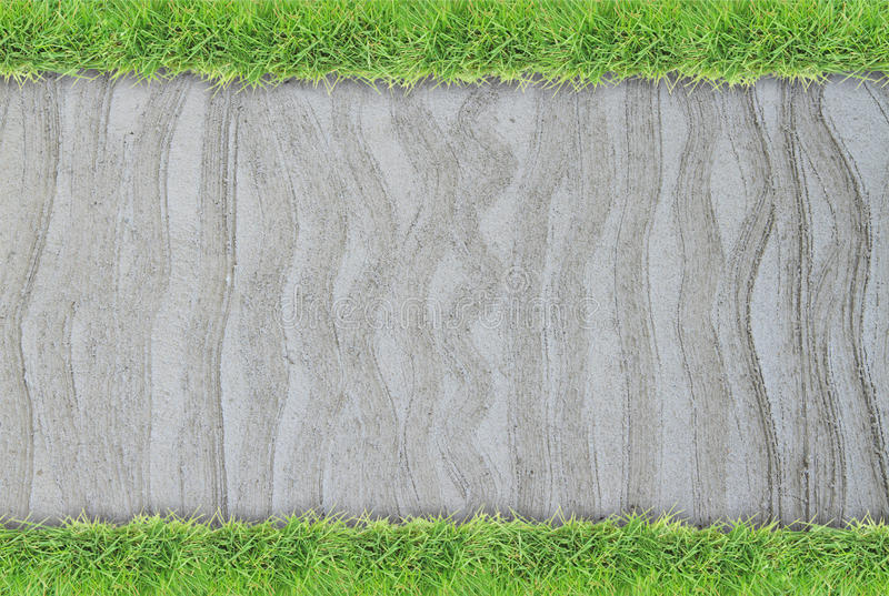 Green grass border on cement wall background. Green grass border on rough cement wall background stock photography
