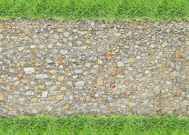 Green grass border on stone wall background. Green grass border on rough stone wall background royalty free stock photo