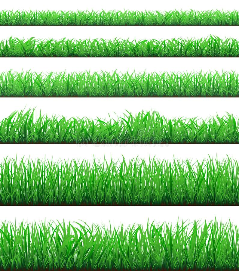 Green grass borders set isolated on white background royalty free illustration