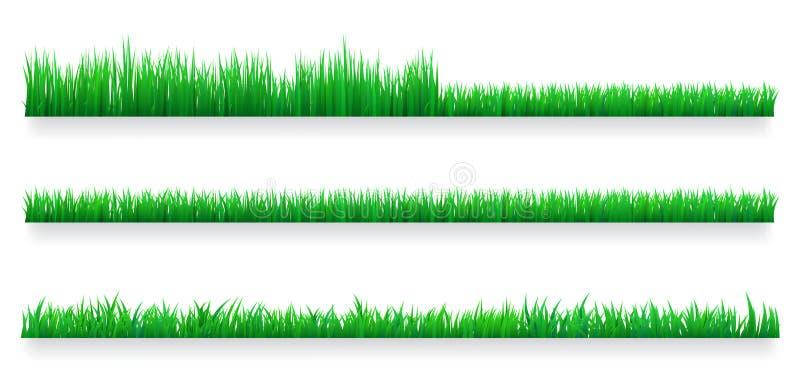 Green grass borders set. Lawn care concept. Isolated vector Illustration. Green grass borders set. Lawn care concept. Isolated vector Illustration stock illustration