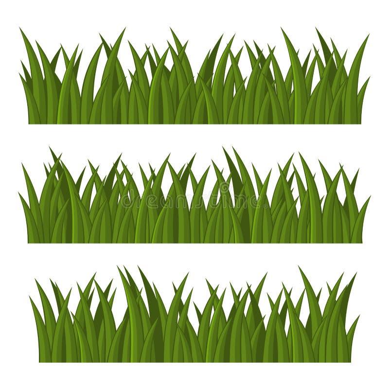 Green Grass Borders Set on White Background. Vector vector illustration