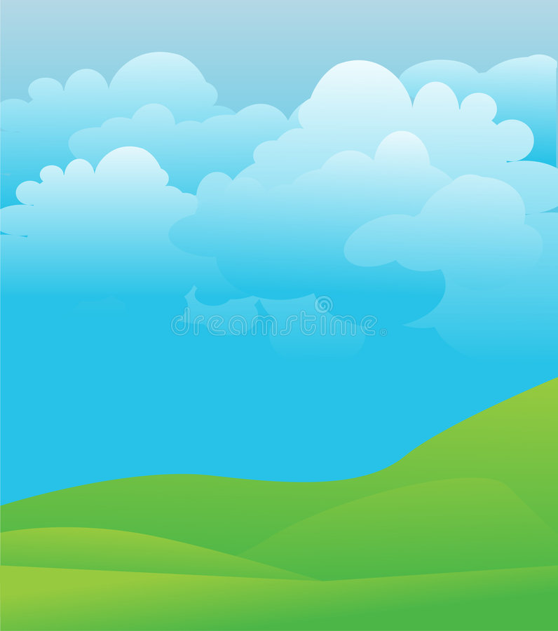 Green grass and bright sky vector illustration