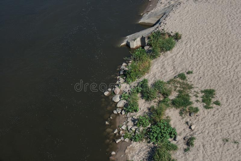 Coast and river and green plants royalty free stock image