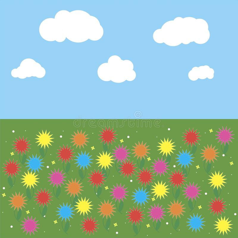 Green grass and colorful flowers with white clouds and blue sky background. royalty free stock image
