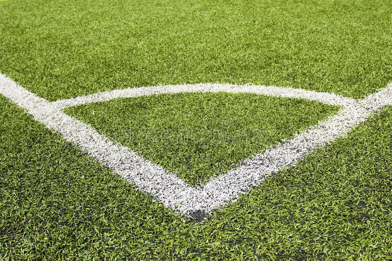 Green Grass And Corner Lines Of A Football Field Royalty Free Stock Image