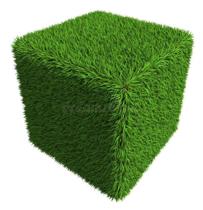 Download Green Grass Cube Isolated On White Background Stock Illustration - Image: 27510084
