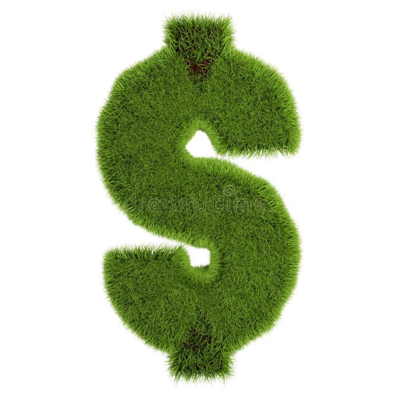 Green grass dollar symbol, isolated on white background. 3D illustration stock illustration