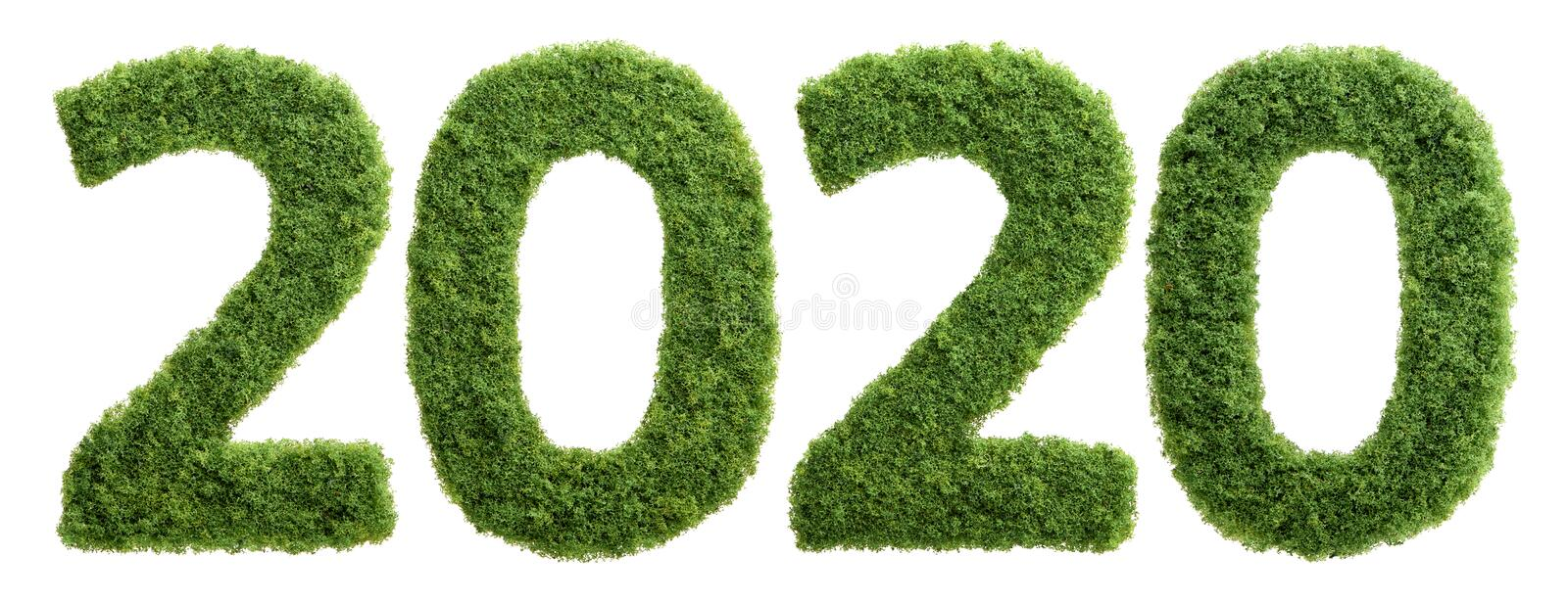 2020 green grass ecology year concept isolated stock photo