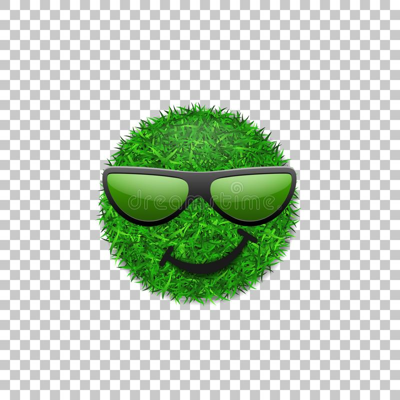 Green grass field 3D. Face smile with sunglasses. Smiley grassy icon, white transparent background. Ecology royalty free illustration