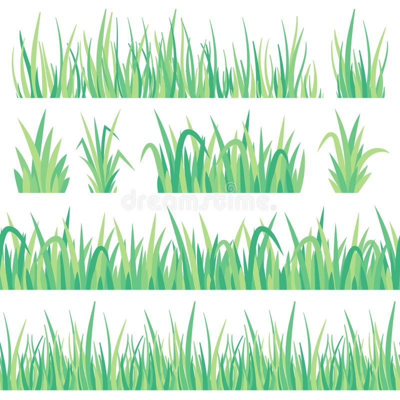 Green grass. Field herb, fresh garden meadow tuft turf and grass seamless banner isolated vector set vector illustration