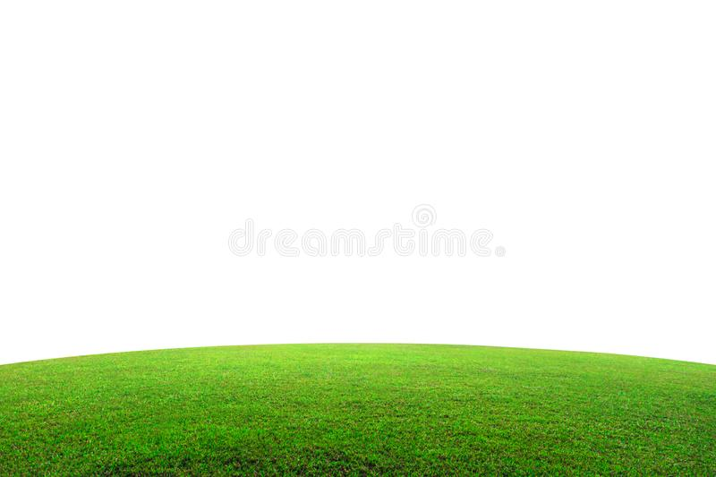 Green grass field on mountain isolated on white background. Beautiful grassland with slope.  Clipping path stock images