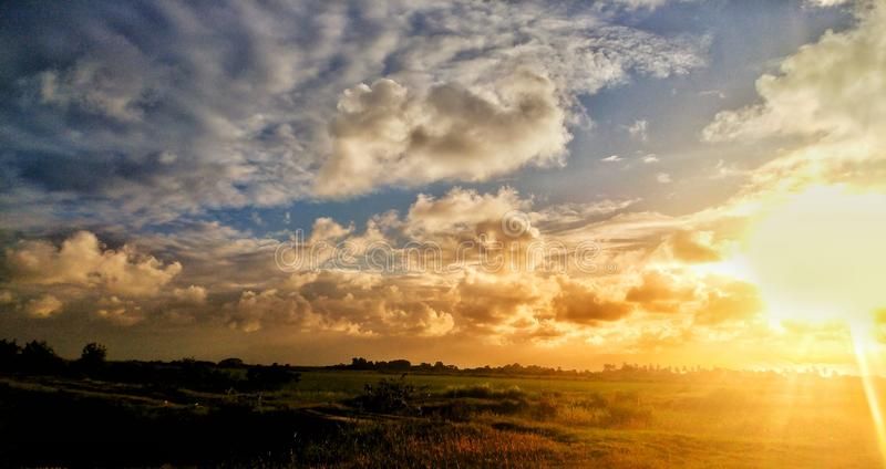 Green Grass Field Under Cloudy Sky during Sunset royalty free stock photo