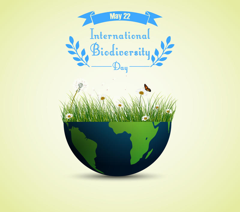 Green grass and flowers inside earth for International biodiversity day background. Illustration of Green grass and flowers inside earth for International vector illustration
