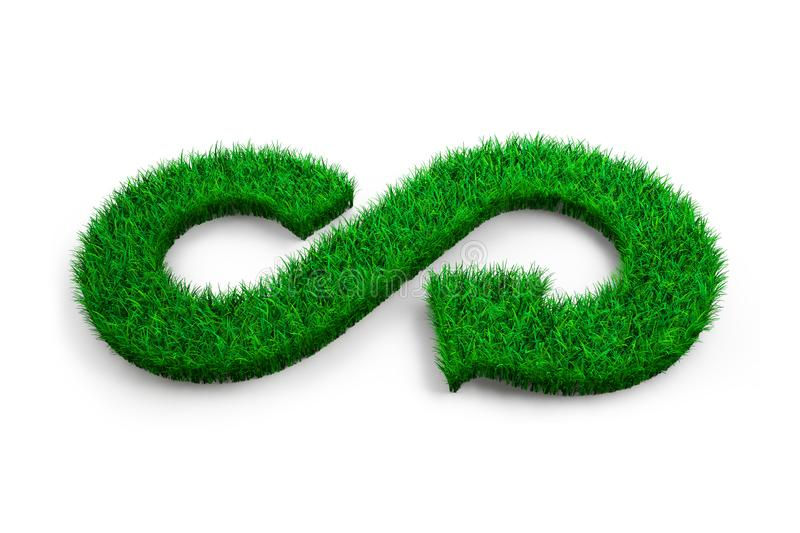 ECO and circular economy concept. The green grass in form of arrow infinity recycling symbol on white background, 3D illustration stock illustration