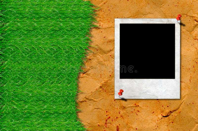 Green grass with frame on vintage background stock photos
