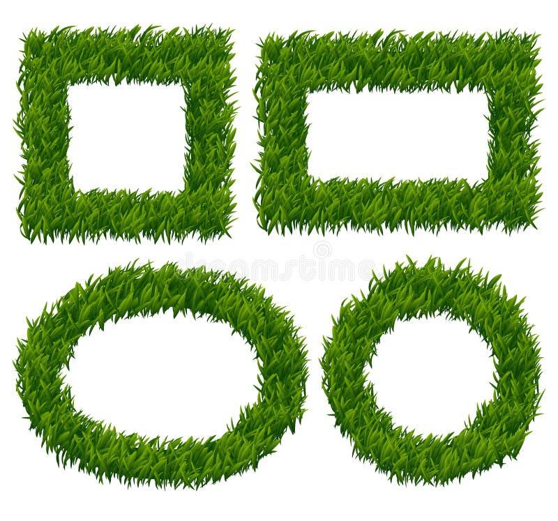 Green Grass Frames Vector Set Stock Vector - Illustration of green ...